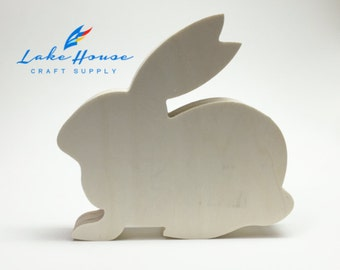 "Bare Wood Bunny Rabbit Decor. 7"" Solid Wood Rabbit. Easter Bunny Paintable."