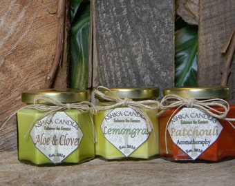 3 Candle Gift Pack: Aloe & Clover, Lemongrass, Patchouli! small candles, lemon candle, aromatherapy candle, aloe candle, patchouli candle