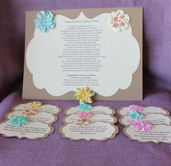 Wedding Shower Candle Poem Tag Set. Bridal candle basket Poem
