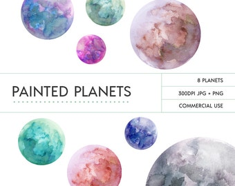 Space Clip Art - Hand Painted Watercolour Planets
