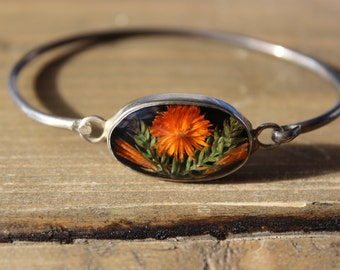 Vintage Silver Orange Flower Hippie Bracelet