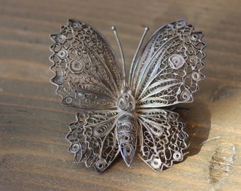 Antique Filigree Sterling Silver Butterfly Brooch