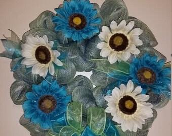 Blue & Teal Spring Flower Deco Mesh Wreath, Front Door Spring Wreath