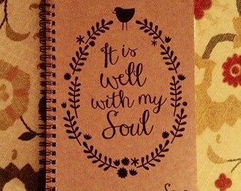 "Personalized Journal, ""It Is Well With My Soul"""
