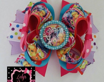 My little pony inspired Stacked Boutique Hair Bow, My little pony hair bow, my little pony bow, my little pony party, my little pony, MLP