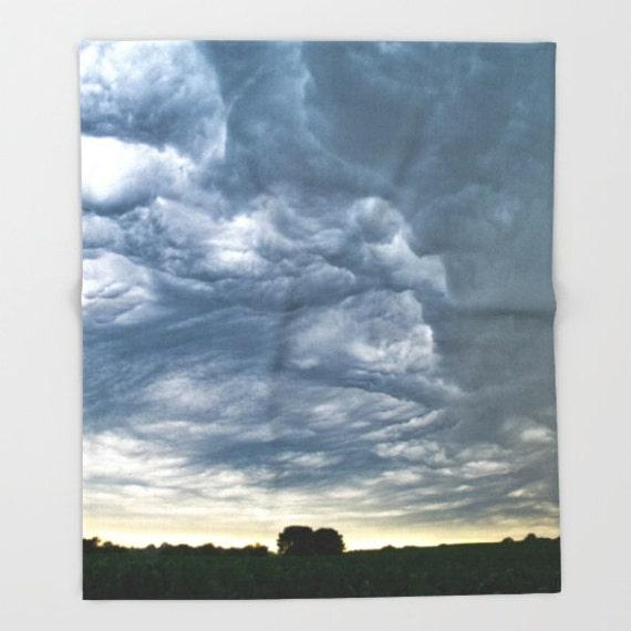Fleece Blanket, Nebraska Photos, Storm Photography, Landscape Image, Warm Blanket, Soft Fleece Blankie, Baby Blanket, Full Bedding, Pictures