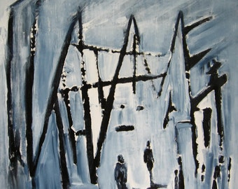 16x16 Figurative Painting Blue Black Painting Unstretched Canvas 16x16 Painting Acrylic Painting Original People Abstract Figurative Art