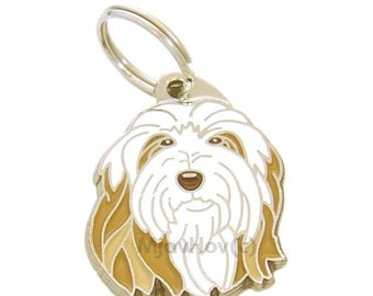 Personalised, stainless steel, breed pet tag, Bearded Collie
