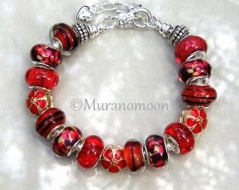 Red Charm Bracelet Red Flower Bead Charms Sister Mother Daughter Grandma Nana Aunt Beaded Red European Bracelet Dangle Heart Charm #EB1399