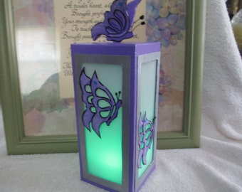 Lighted Butterfly Tealight Lantern With Color Changing TeaLight