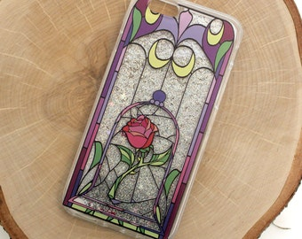 Enchanted Rose Stained Glass iPhone Case, Silver Glitter