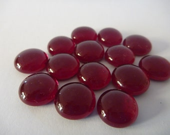 Ruby red glass Cabochons