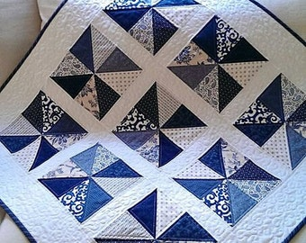 Summer Quilt Pattern Patriotic Picnic Table Runner PDF Wall Hanging Scrap Pinwheel French Country Charm Download
