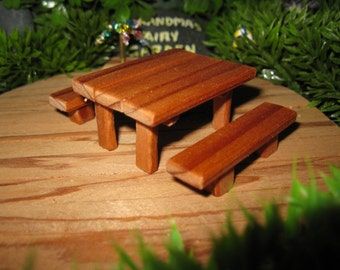 Fairy Garden Redwood Table and Benches