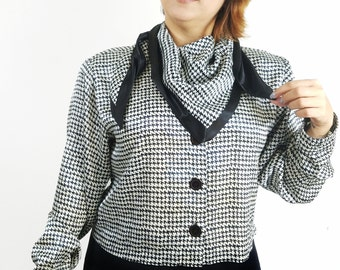 Vintage Houndstooth Blouse 80's Button Up