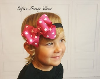 Minnie mouse bow. Pink Minnie mouse headband. Pink Minnie mouse bow. Pink Minnie mouse birthday. Minnie mouse headband. Hot pink headband