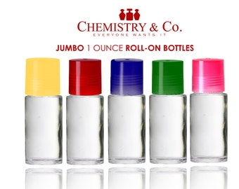 50 CLEAR JUMBO Roller Bottles 1 oz. 30 ml Roll On Perfume, Lip Gloss w/ Assorted Caps Aromatherapy Essential Oil Deodorant