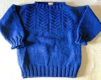 Hand Knit Child's Sweater, Little Boy Sweater, Pullover Size 4, Deep Royal Blue Sweater for Girl or Boy