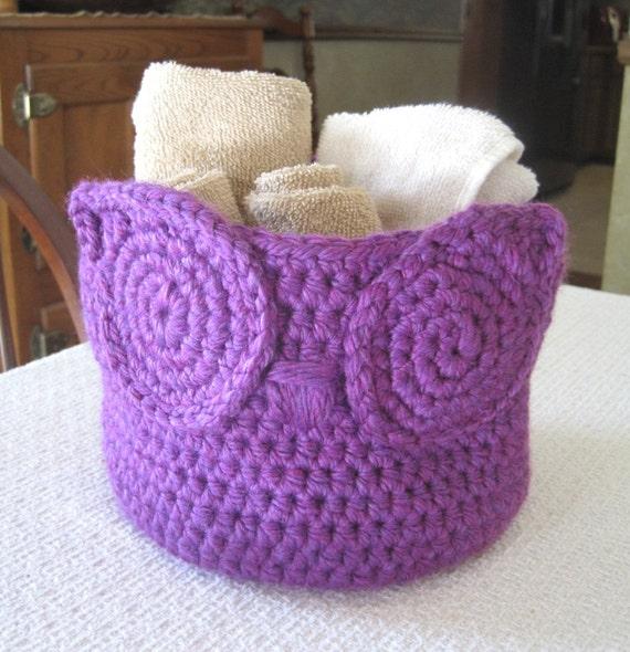 Handmade Crochet Basket : Handmade crochet owl basket nursery by
