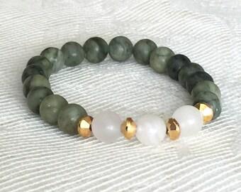 Green Bead Bracelet, Green Bracelet, Green Beaded Bracelet, Green Jasper Bracelets, Green Stretchy Bracelets, Green Bead Bracelets