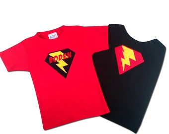 Boy's Superhero Shirt with Lightning Bolt and Matching Cape