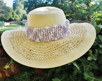 Ladies silver and lilac hat band Lilac hat band Silver hat band Silver hat Lilac hat Womans silver and lilac hat band Womens lilac hat304