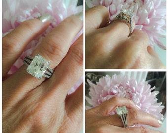 Pave Diamond Ring Split Shank Engagement Ring 5.30ct Radiant Cut Forever One Moissanite Ring .30ct Natural Diamonds Pristine Custom Rings
