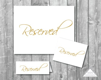 Reserved Signs Collection, Gold Reserved Seating Signs, DIY Wedding Signs, Simple Wedding Sign, Printable Printable PDF, Gold Wedding Sign