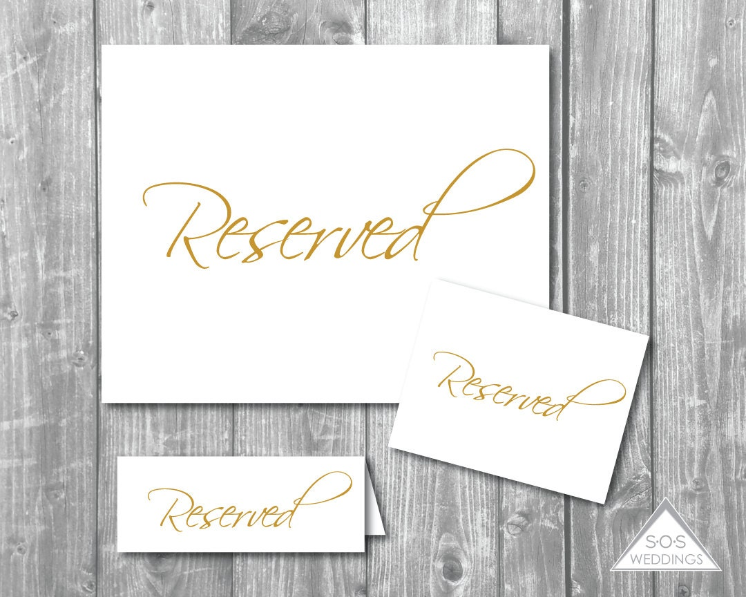 Reserved Signs Collection Gold Reserved Seating Signs DIY