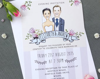 Caricature Evening Wedding Invitation Sample