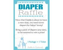 Printable DIY Blue Safari Baby Shower Diaper Raffle Inserts
