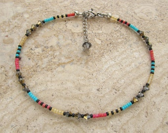 Multi Colour Seed Bead with Swarovski Crystals Extension Anklet