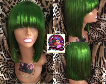Green Wig with Bangs