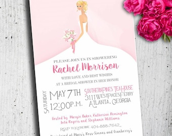 Beautiful Whimsical Bridal Shower Invitation, Bunette OR Blond, Bridal  Shower Invitations, Wedding Shower