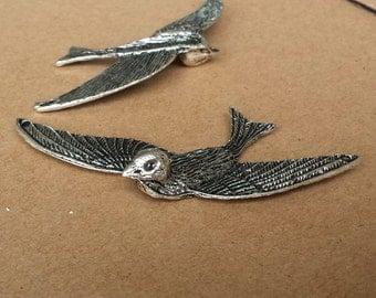 4 pcs 31x76mm Antique silver Vintage style cute Bird  Charm Pendant Connector  ABb017b