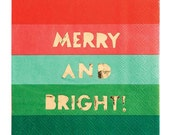 SALE Merry And Bright Christmas Napkin (20), Meri Meri Cocktail Napkin, Gold Foil Stamped Xmas Party Supply