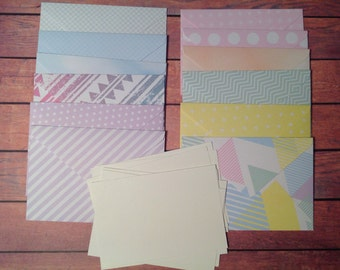 12 Mini cards, tiny cards and envelope set, Mini stationery, Pastel paper envelopes, mini stationary,