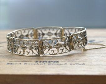 1940s vintage silver gilt bracelet, handcrafted filigree, ca 20 cm length
