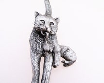 Signed JJ Cat and Kitten Articulated Pewter Tone Vintage Brooch