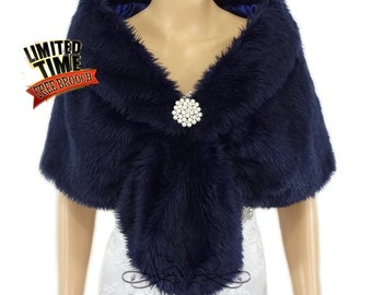 Faux Fur Stole, Navy Blue Faux Fur Wrap, Bridal Shrug, Fur Shawl, Faux Fur Shrug, Wedding Stole, Bridal Fur Wrap, Bridal Stole FS108-NBLUE