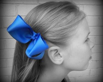 Royal Blue Hair Bow, Blue Boutique Hair Bow, Royal Blue Hairbow, Blue Hair Clip, Boutique Hair Bow, School Hair Bow, Hair Bows for Babies