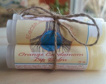 Wild Orange or Orange Cardamom Lip Balm- Organic, Natural, Soothing, Nourishing