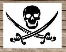 Pirate SVG Skull and Crossed Swords SVG file for Electric Cutting Machines Pirate Flag Pirate Logo Pirate Symbol Pirate Sword Skull Sword