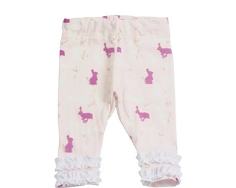 Easter Bunny Leggings- Easter Girl Toddler Leggings- Easter Leggings- First Easter Girl Leggings- Easter Baby Leggings- Easter Ruffle Pants
