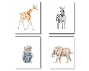Jungle Nursery Art Jungle Animal Prints. Jungle Nursery Decor Jungle Wall Art Safari Wall Decor Baby Elephant Giraffe Zebra Monkey Set of 4.