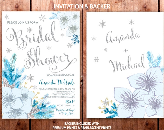Winter Bridal Shower Invitation // Snowflake Bridal Shower // Winter Bridal Shower // Blue //Teal /  Holiday // Silver // VERMONT COLLECTION