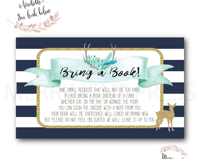 Deer Bring a Book // Oh Deer // Fawn // Bring a Book instead of a Card // Woodland // Navy // Blue // Mint // Printed // OXFORD COLLECTION