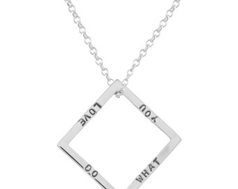 Sterling Silver Personalized Geometric Square Necklace, Rose gold, Gold, Personalized jewelry,Geometric jewelry,Square jewelry/pendant/charm