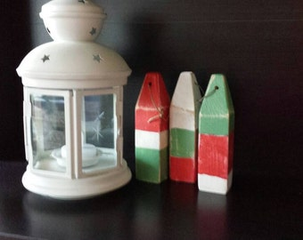 Set of 3 mini wooden buoys. 5 inches high by 1 inch square. Handmade recycled wood.