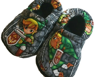 The legend of Zelda Link Christmas Handmade Baby Girl's Boy's Shoes Slippers Booties Choose Size 0 - 24 M or 3T-5T  Baby Shower Gift